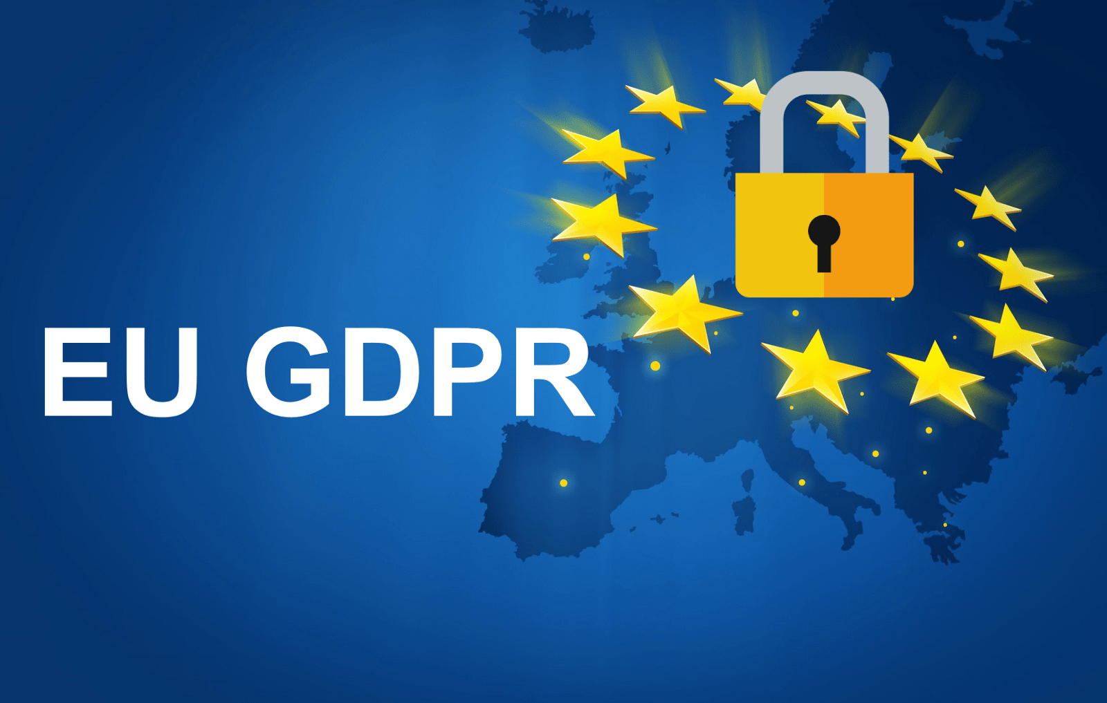 Map fo Europe, covered by twelve stars, a lock and the phrase 'EU GDPR'.